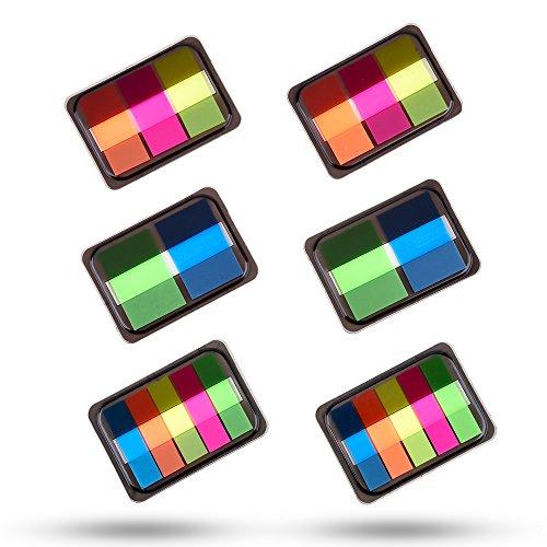 Antner 6 Sets Neon Mini Haftstreifen Index Pop-up Tabs Page Markers Flags mit Box,3 Größe 400 Stück