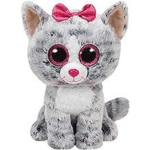 TY - Beanie Boos Kiki, peluche gatita, 15 cm, color gris (United
