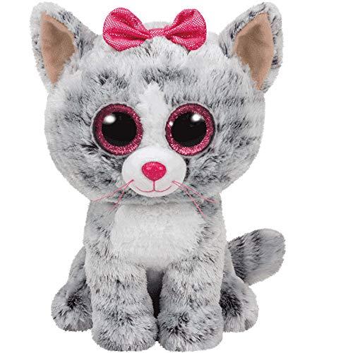 Carletto Ty 37190 - Kiki, Katze mit Glitzeraugen, Glubschis, Beanie Boos, 15cm, grau