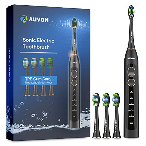 Elektrische Zahnbürste, AUVON Wiederaufladbare Schallzahnbürsten mit 5 kraftvolle Modi, 30 Tage lange Akkulaufzeit, 4 mitgelieferte Bürstenköpfe für unterwegs oder zu Hause