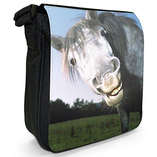 Superb Stunning Stallone Cavallo Bianco Piccolo Nero Tela Borsa a tracolla, taglia S LOL Funny Laughing Horse