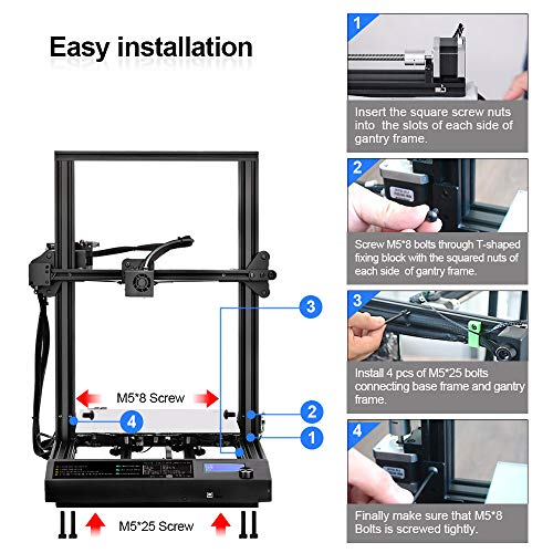 Sunlu 3D Printer, Semi-assembly, Nozzle & Heated for PLA, ABS, PETG, HIPS, WOOD, PLA Carbon Fiber with Build Volume 310 × 310 × 400 mm, for Home Use & Beginner - 4