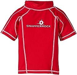 Snapper Rock Jungen UPF 50+ UV Schutz Kurzarm Bade Shirt für Kinder & Jugendliche Rot 5-6 Jahre, 116-122cm