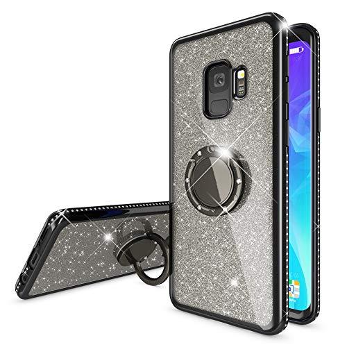 NALIA Ring Hülle kompatibel mit Samsung Galaxy S9, Glitzer Handyhülle Ultra-Slim Silikon Case Back-Cover mit 360-Grad Fingerhalterung, Schutzhülle Glitter Handy-Tasche Bumper Etui, Farbe:Schwarz