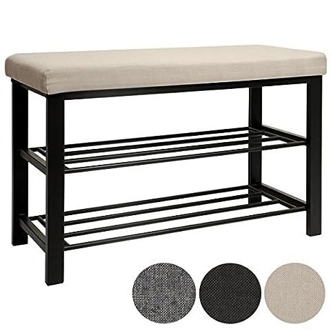 DuneDesign Schuhregal 81x32x46 cm offener Schuhschrank mit 2 Böden stabile Sitzbank Schuhbank aus Metall mit gepolsterter Leinen Sitzfläche
