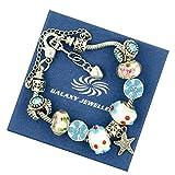 Charm Bracelet Star e Fiori - Ideale regalo per le donne e le ragazze - viene fornito con scatola regalo