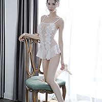 WWF Weibliches schwarzes Kleid der Sexy Spitze Sexy Wäscheklage,Weiß,M