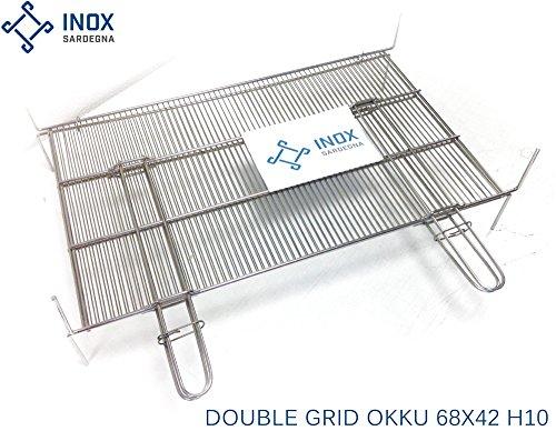 Double Grille en acier inoxydable barbecue Okku grand 68X42