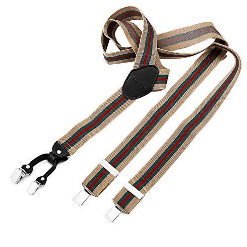 DonDon® Herren Hosenträger breit 4 Clips mit Leder in Y-Form - elastisch und längenverstellbar beige grün rot