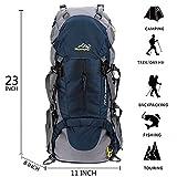 50L Zaini da escursionismo Sport Trekking Escursioni Campeggio Viaggio Arrampicata Zaino con Copertura della Pioggia Per il campeggio Pesca Viaggiare Arrampicata Alpinismo Ciclismo Sci blu scuro