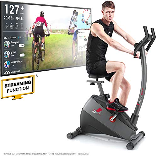 "Sportstech ESX500 Ergometer - Deutsche Qualitätsmarke - Video Events & Multiplayer APP + 5,5"" Display, 12KG Schwungmasse, Pulsgurt kompatibel - Fitness-Bike Heimtrainer mit flüsterleisem Riemenantrieb"