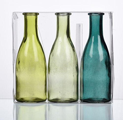 """SANDRA RICH. GLAS VASE \""""BOTTLE groß\"""". 3 kleine Flaschen ca 18,5 x 6,5 cm. Petrol - GRÜN. 1165-18-51"""