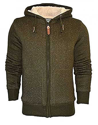 MENS SOFT BORG SHERPA FLEECE LINED HOODY SWEATSHIRT - KHAKI S ...