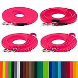 LENNIE BioThane Schleppleine, 3m, Neon-Pink, 16mm für große Hunde, genäht/geflochten, Handschlaufe & Karabiner wählbar