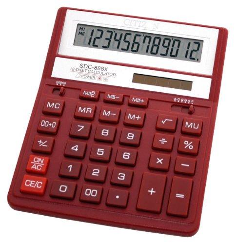 Ziffer Batterie (Citizen SDC-888X Taschenrechner, für die Hosentasche, Finanzrechner, 12Ziffern, 1Zeile, batterie- und solarbetrieben, Rot)