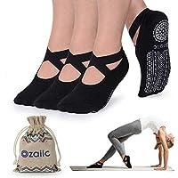 Ozaiic Calcetines Pilates Yoga Antideslizantes, Utilizar para Barre, Yoga, Pilates, Fitness Antideslizantes Calcetines (Negro-3, M(Mujer35-41)