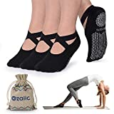 Ozaiic Yoga Socken Rutschfeste für Damen für Pilates, Barre, Ballett, Tanz (Schwarz - 3 Paar, Medium(Damen35-41))
