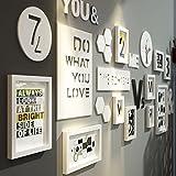 G-Y Foto Wand Massivholz Bilderrahmen Wand Im Europäischen Stil Schlafzimmer Wohnzimmer Ideen 10 Bilder Kombiniert ( Farbe : Weiß )