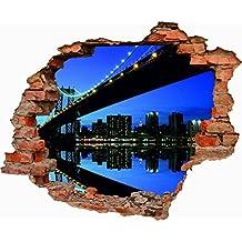 Vinilo decorativo pared 3D Puente de Brooklyn 70cm x 57,81cm| Adhesivo Resistente y de Facil Aplicación | Multicolor|Pegatina Adhesiva Decorativa de Diseño Elegante|