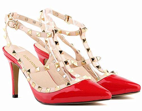 Minetom Scarpe Col Tacco Donna Court Party Shoes Giuntura Rivetti Punta Aguzza Sexy Bocca Superficiale Sottile Tacchi Alti Pompa Tacco Alto Estate Rosso