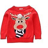 Toctax Suéter de Bebé Navidad Dibujos Animados de Jersey de Navidad Bordado Prendas de Punto Espesar Suéter Jersey de Cuello