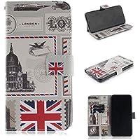BONROY Hülle Case für iPhone XS Max, Lederhülle PU Leder Flip Tasche Klappbar Schutzhülle Handyhülle mit [Ständer Funktion] iPhone XS Max-(TX-London-Umschlag)