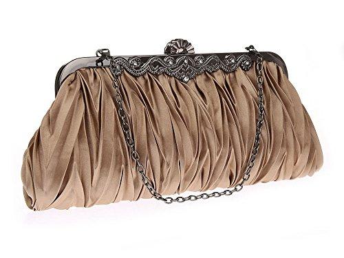 0f5643b72cb14 Lantra Besa Damen Satin Tasche Abendtasche Clutch Umhängetasche  Schultertasche mit 2 Ketten für Hochzeit und Party