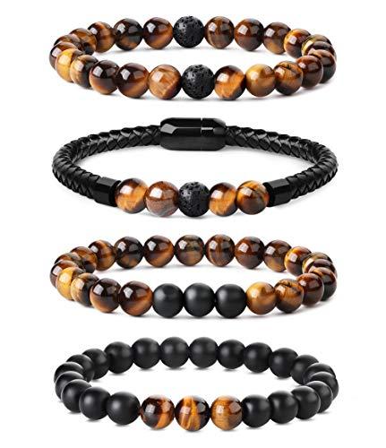 CASSIECA 4PCS 8 MM Bead Bracelets en Cuir pour Hommes Pierre Volcanique Jaune Oeil De Tigre Bracelet de Lave Rock Gothique Punk Élastique Perles Bracelet Ensemble Boucle Magnétique