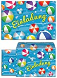 JuNa-Experten 6 Einladungskarten Incl. 6 Umschläge zum Kindergeburtstag Schwimmbad Party / Wasserbälle / Einladungen für Mädchen und Jungen / Umschlag / Pool Party / Bunte Einladungskarten
