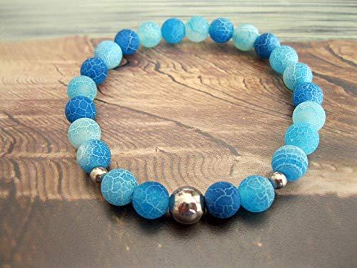 Handmade, Edelstahl- Perlen Armband Achat Blau/Türkis -