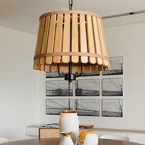 BBSLT Estilo rural americana creativa del Mediterráneo Oriental salón dormitorio comedor estudio colgante de barril de madera 400*350mm , amarillo
