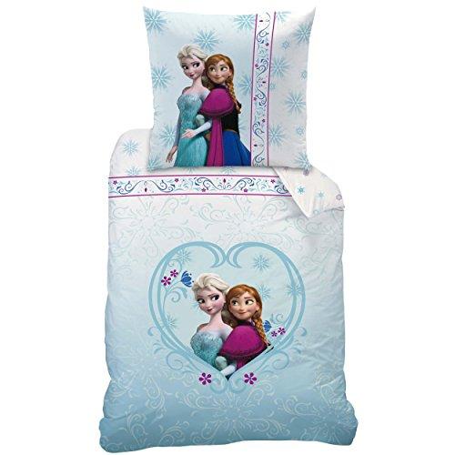 Disney Frozen 042654 - Juego de funda de edredón y funda de almohada (linón de algodón, 135 x 200 y 80 x 80 cm), diseño de Frozen