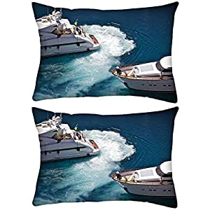 Pack of 2 Blue Water Rectangle Toss Throw Pillow Cushion Cover Decoarative Pillow Cover 20 x 30""