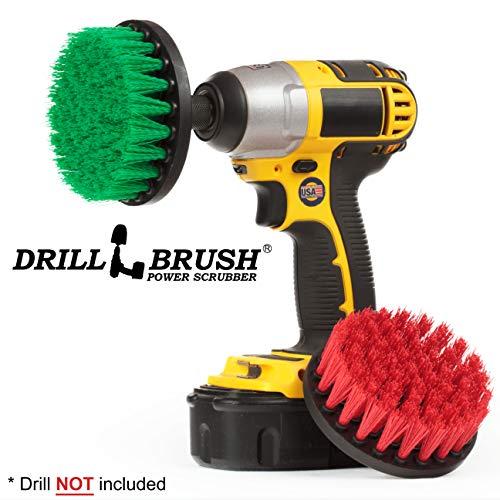 Drill Brush - Indoor/Outdoor Medium und Stiff 4-Zoll-Runde - Spin Brush - Combo Kit - Reinigungsgeräte - Herd, Backofen, Spüle - Fugenreiniger - Outdoor-Decke - Deck Brush - Algen, Schimmel und Moss