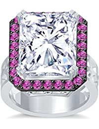 Silvernshine 18K Rediant Cut Pink Sapphire Simuleted Diamonds WhiteGold PL Hand Craft Wedding Ring