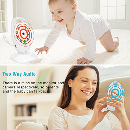 Baby Monitor,Mixmart Baby Video with Camera 2-Way Talk Back Audio and LCD Screen Night Vision,Temp Sensor Digital Video,Babyphone,Nanny,Pets Surveillance for Home Security System