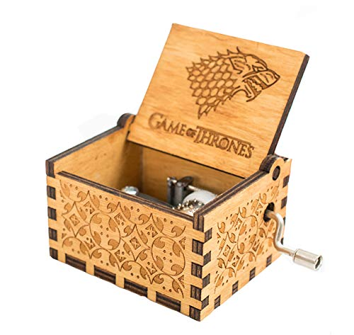 Meiion Antigua caja música madera tallada música