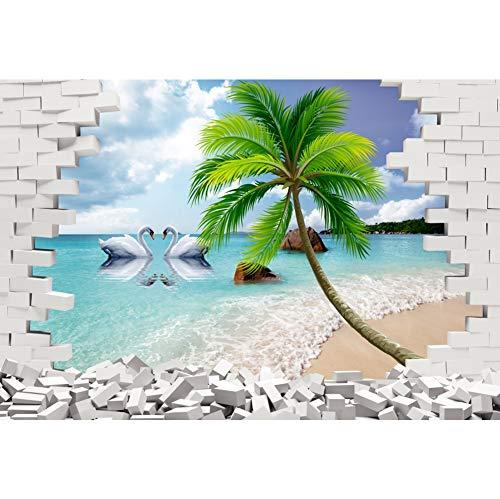 Cassisy 1,5x1m Vinyl Meer Fotohintergrund 3D Rendering Brick Wall Palmen Schwan Wellen Vorland Fotoleinwand Hintergrund für Fotoshooting Fotostudio Requisiten Party Photo Booth
