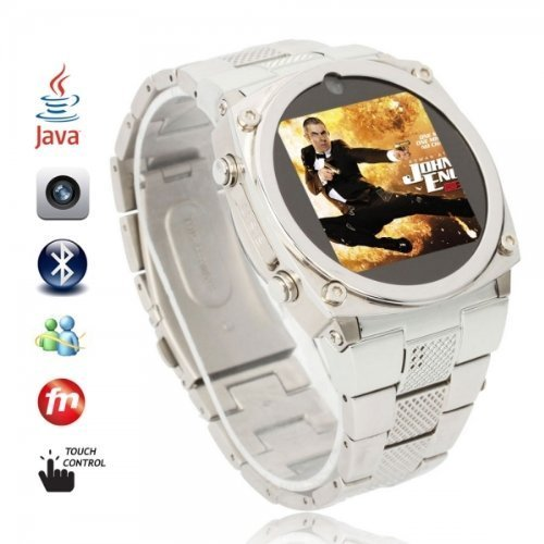 Stainless Steel Mobile Watch Phone with JAVA Skype,Newest Bluetooth Watch Cell Phone,Silver Java Mobile