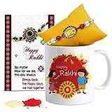 TIED RIBBONS Combo of 325ml Ceramic Coffee Mug with Rakhi and Roli Chawal Pack for Rakshabandhan (Multicolour, TR-RB17-BR-MugRakhiRL010)
