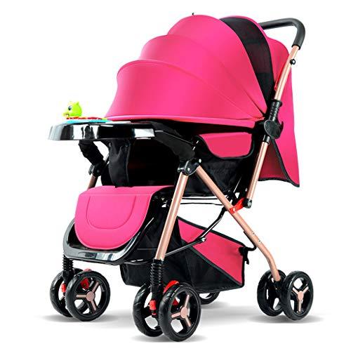 Carrito de bebé, De dos vías Puede sentarse Reclinable Ultraligero Portátil Silla de paseo, 0/1-3 años Niño Cuatro ruedas Paraguas de bebe Ligero Cochecito plegable hasta 25 kg 5 colores