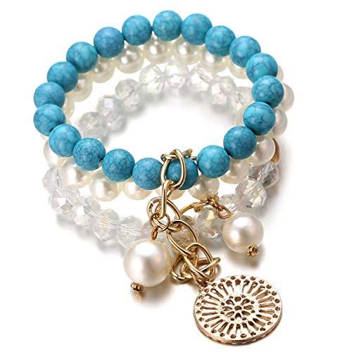 Halukakah ● ATRAPASUEÑOS ● Mujer Femenino Perla Cristal Azul Turquesa Pulsera Hecho a Mano Triple Capa con CajaDeRegaloGRATIS