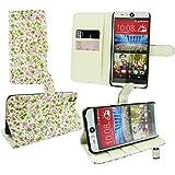 Emartbuy® HTC Desire Eye Desktop Stand Wallet Case Cover Hülle Floral Rosa / Grün mit KRotitkartenfächern