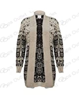 Ladies Xmas Owl Cross Snow Print Womens Christmas Knitted Long Sleeve Cardigan