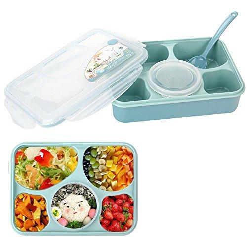 Minidiva Mittagessen Bento Box-Auslauf Mikrowelle und Spülmaschinenfest Lunch Box mit mit 5 + 1 Getrennt Containers (blau) (Große Mikrowelle Cover)