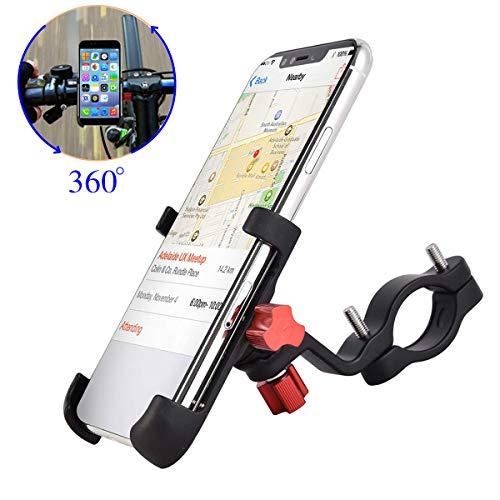 """ENONEO Fahrrad Handyhalterung Universal Aluminium Motorrad Halterung Handy mit 360° Drehbar Anti-Fall Handyhalter Fahrrad für iPhone Samsung Huawei (Handy Breite 2.16-3.74"""") (Schwarz)"""