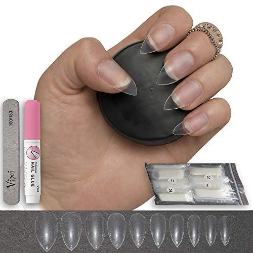 Stiletto - Puntas de uñas postizas con tapa completa, 10 tamaños Estas uñas postizas Stiletto están hechas de material ABS; resistentes y duraderas, pueden durar alrededor de 2 - 3 semanas, proporcionando una cómoda experiencia de uñas artificiales. ...