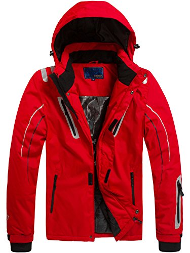 OZONEE Herren Winterjacke Skijacke Parka Windjacke Jacke Kapuzenjacke Wärmejacke Wintermantel Sportjacke RED FIREBALL F802 ROT XL