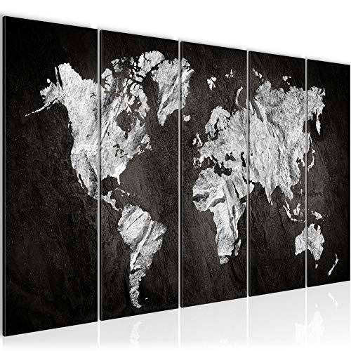 Bilder Weltkarte World map Wandbild 150 x 60 cm Vlies - Leinwand Bild XXL Format Wandbilder Wohnzimmer Wohnung Deko Kunstdrucke Weiß 5 Teilig - MADE IN GERMANY - Fertig zum Aufhängen 002956a