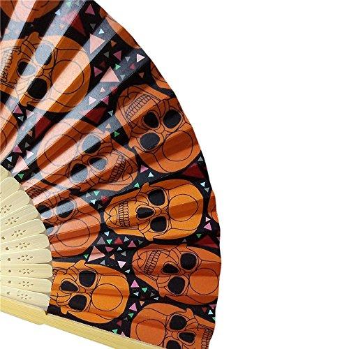 (VEMOW Heißer Halloween Party Kürbis schädel Spinne Hexe Handgeschnitzten Bambus Folding Fan Stil Holz(A, 23cm*40cm))